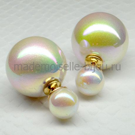 Двусторонние серьги-шарики в стиле Диор, жемчужного цвета, перламутровые.