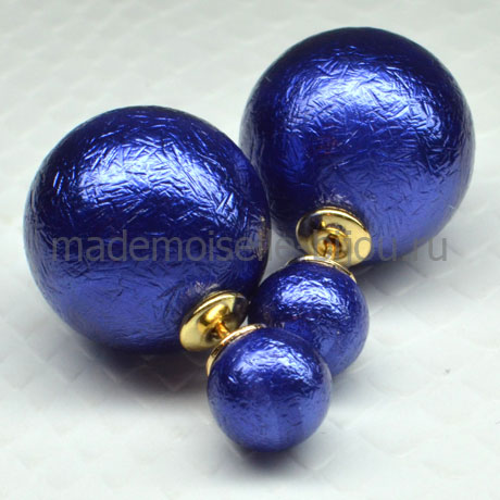 Сережки шарики с двух сторон Fashion Indigo Venice