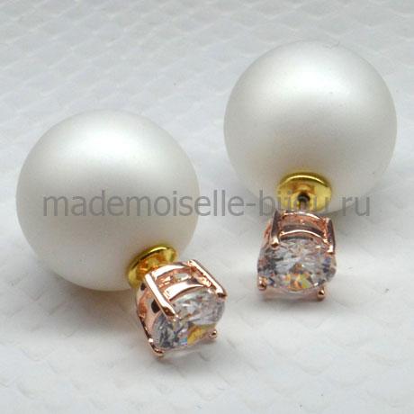 Серьги шарики с кристаллом Fashion La Perla Crystal Matt S