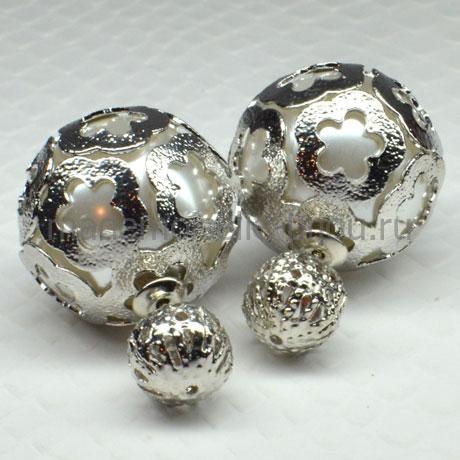 """Серебряные шарики с """"жемчужиной"""" внутри Royal Louis Silver Fleur"""