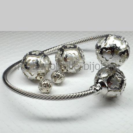 Комплект серьги и браслет с «жемчужиной» внутри и кристаллом Royal Louis Silver Fleur