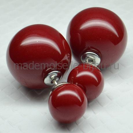 Серьги с двумя шариками красного цвета Fashion Burgundy Glow