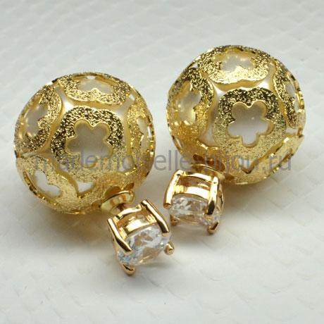 Золотые серьги с «жемчужиной» внутри и кристаллом Royal Crystal Golden Fleur