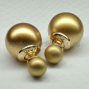 Серьги золотые шарики матовые Fashion LUX Golden Matt