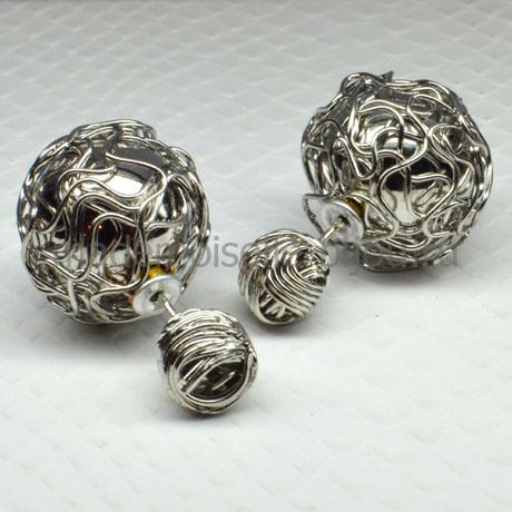 Серьги шарики серебристые Fashion Silver Jungle