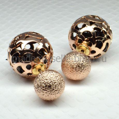 Серьги шары золотые c кристаллами в оправе Royal Golden Shadow Whisp
