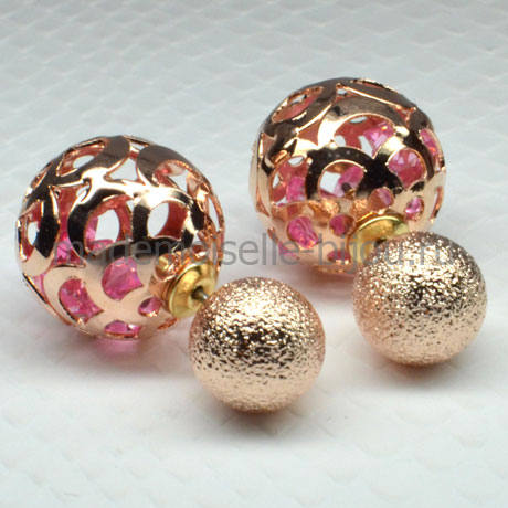 Серьги шары золотые c кристаллами в оправе Royal Golden Rosy Whisp