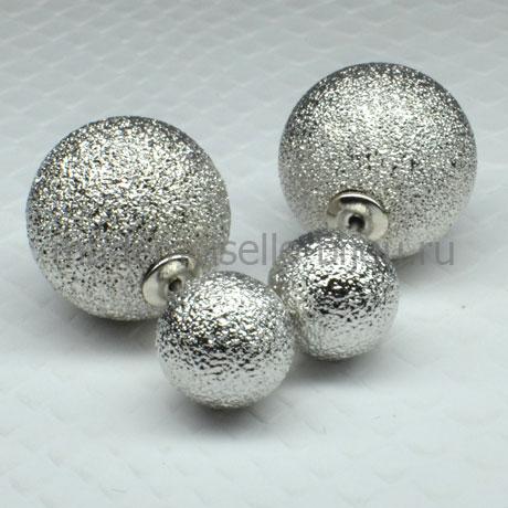 Серьги шарики серебристые Royal Silver Mystique