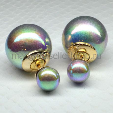 Серьги серебряные перламутровые Fashion LUX Silver Shelly