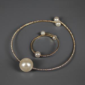 """Комплект колье и браслет с тремя """"жемчужинами"""" под золото La Perla Elegante Gold"""