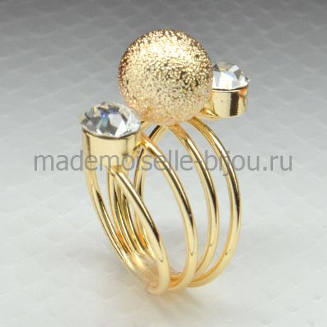 Кольцо с шариком и двумя кристаллами