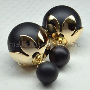 Серьги шарики Fashion Noir Frame