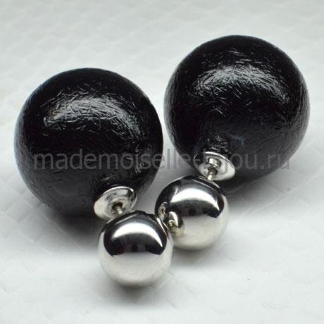 Серьги шарики черные Fashion Noir Venice