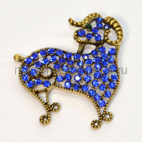 """Новогодний подарок брошь - символ года """"Барашек синий"""""""