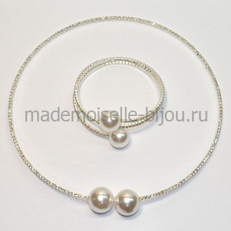 """Комплект колье и браслет с двумя """"жемчужинами"""" под серебро La Perla Elegante Duo"""
