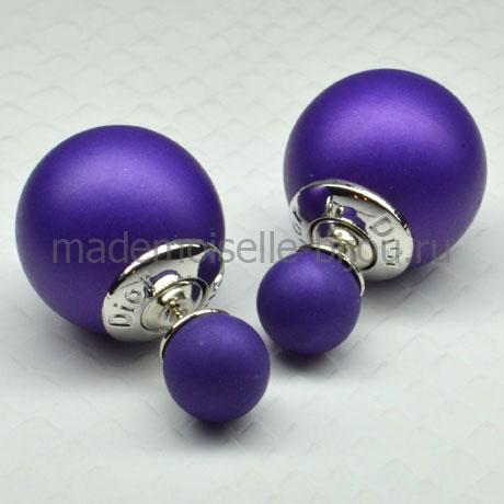 Двусторонние серьги шарики Fashion Purple LUX
