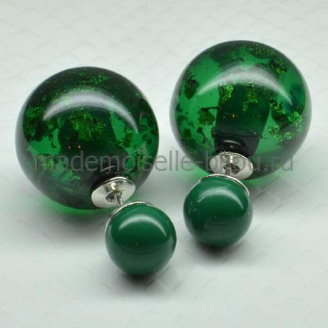 Серьги шары зеленые Fashion Malachite