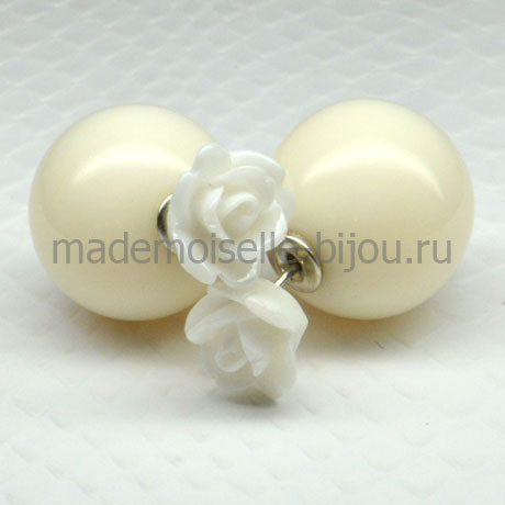 Серьги шарики Fashion La Perla White Rose
