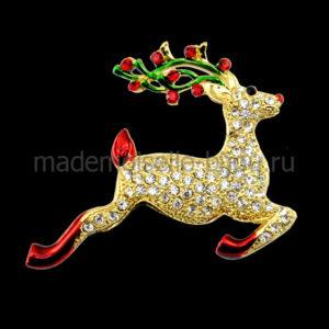 Новогодняя брошь в виде оленя Reindeer