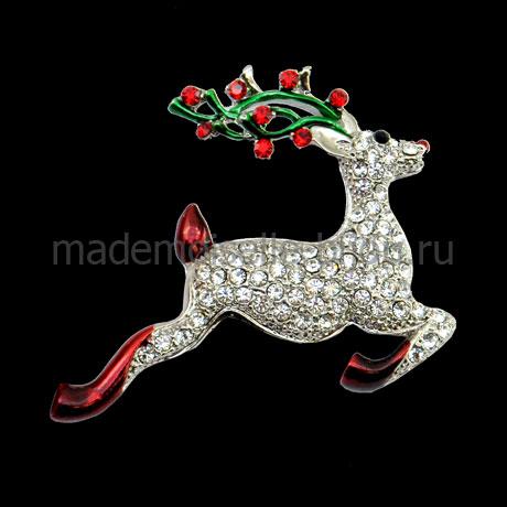 Новогодняя брошь в виде серебряного оленя Silver Reindeer