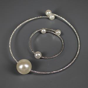 """Комплект колье и браслет с тремя """"жемчужинами"""" под серебро La Perla Elegante Silver"""