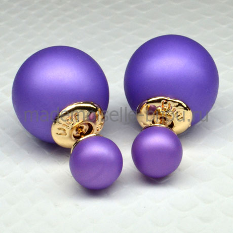 Серьги шарики лавандовые Fashion Lavender Matt LUX