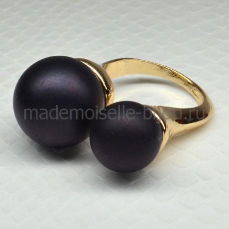 Кольцо двумя черными шариками Fashion Noir Matt