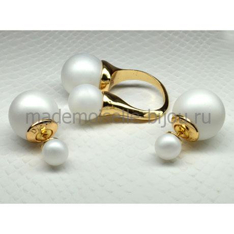Комплект Серьги и Кольцо белые матовые Fashion Frozen Matt