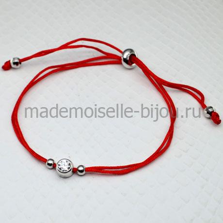 Браслет красная нить с цирконом Silver Wish 925