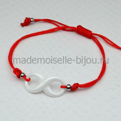 Браслет красная нить в стиле Tiffany Infinity White (керамика)