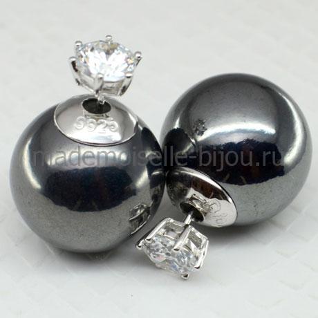 Серьги шарики с кристаллом Premium Titan Glamour 925