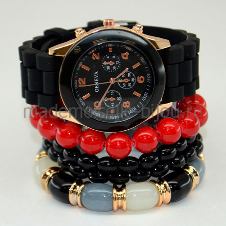 Часы с браслетами Black & Red
