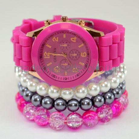 Часы с браслетами цвета фуксия Tropicana