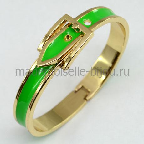 Женский браслет с эмалью Hermes Green Apple