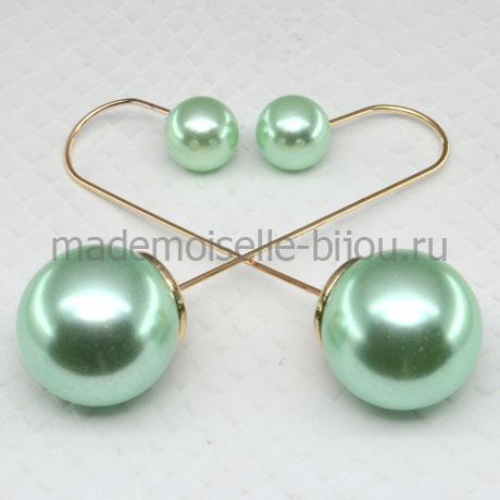 Серьги шарики удлиненные Fashion Mint Glow String