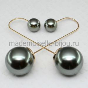 Серьги шарики удлиненные Fashion Military Glow String