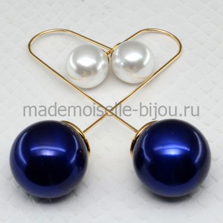 Серьги шарики удлиненные Fashion Indigo & La Perla String