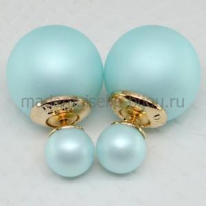 Двойные серьги голубые матовые Fashion Ice Matt