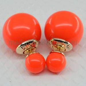 Двойные серьги шарики оранжевые глянцевые Fashion Orange Glow