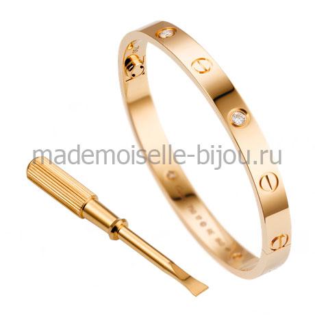Браслет Cartier Love Gold Premium с отверткой