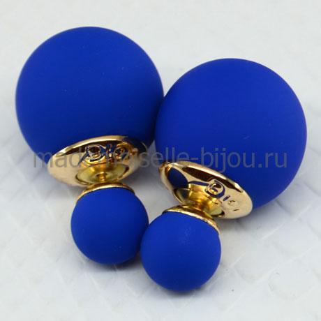 Серьги двойные шарики синие матовые Fashion Indigo Silk