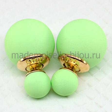 Сережки с двумя шариками мятные матовые Fashion Mint Silk
