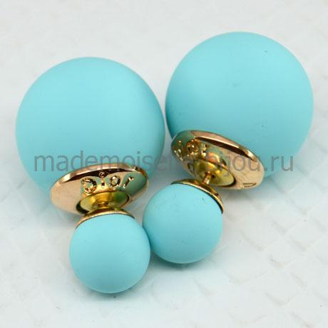 Сережки два шарика голубые матовые Fashion Blue Silk