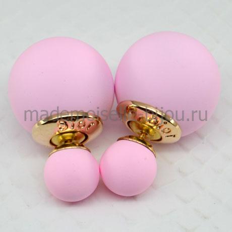 Сережки гвоздики шарики розовые матовые Fashion Rose Silk