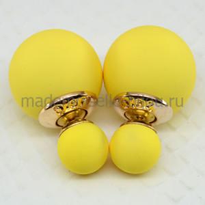 Сережки два шарика ярко желтые матовые Fashion Sunlight Silk