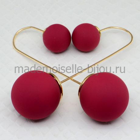 Серьги шарики удлиненные Fashion Burgundy Silk String