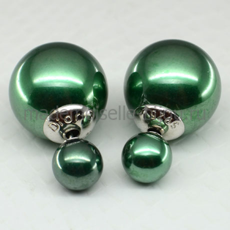 Серьги шарики серебро Premium Green Lux 925