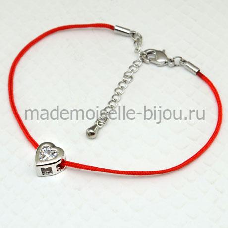 Браслет желаний красная нить в виде сердца Angel Heart Silver