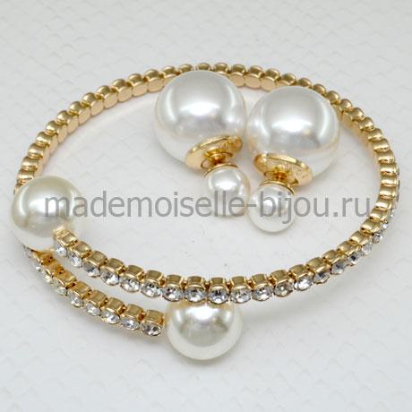 Комплект браслет и серьги Elegante La Perla Gold LUX