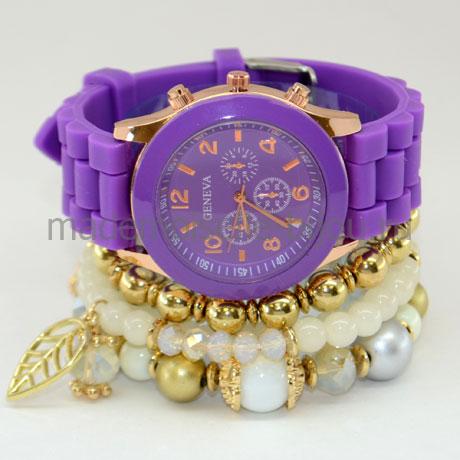 Набор часы с браслетами Gold & Violet
